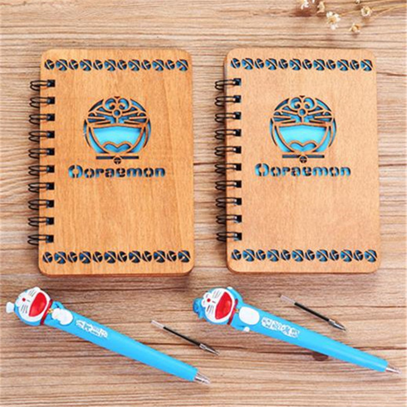 2 Styles Doraemon Anime Notebook With Pen Set Wooden Diary Day Book Blue Journal Stationery School Supplies Gifts For Kids 17cm