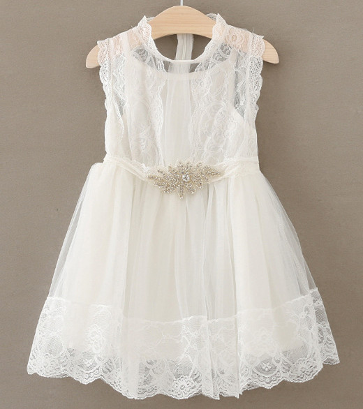 Wholesale toddler kids Girls white lace dress with crystal