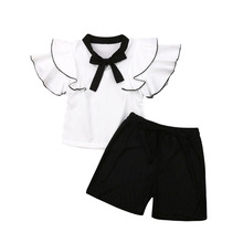 2Pcs Toddler Baby Girls Chiffon Shirt Ruffle Short Sleeve Bow Tie Tops Short Pants Outfits Solid Set Clothes недорого