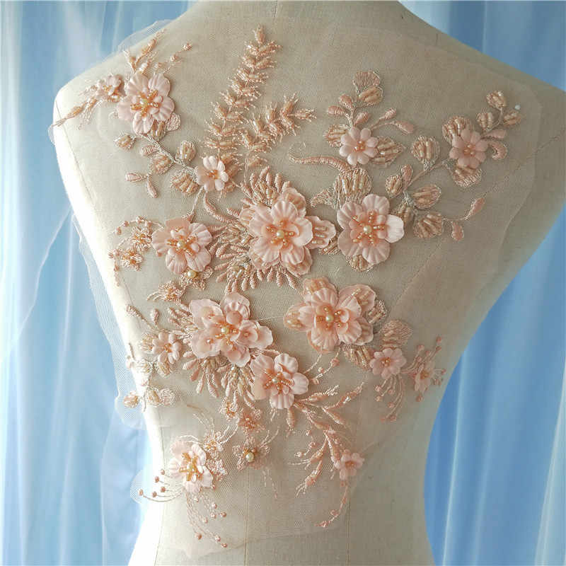 2 pieces Delicate 3D pearl heavily beaded flower lace applique in peach navy black gray off white blue wine red champagne