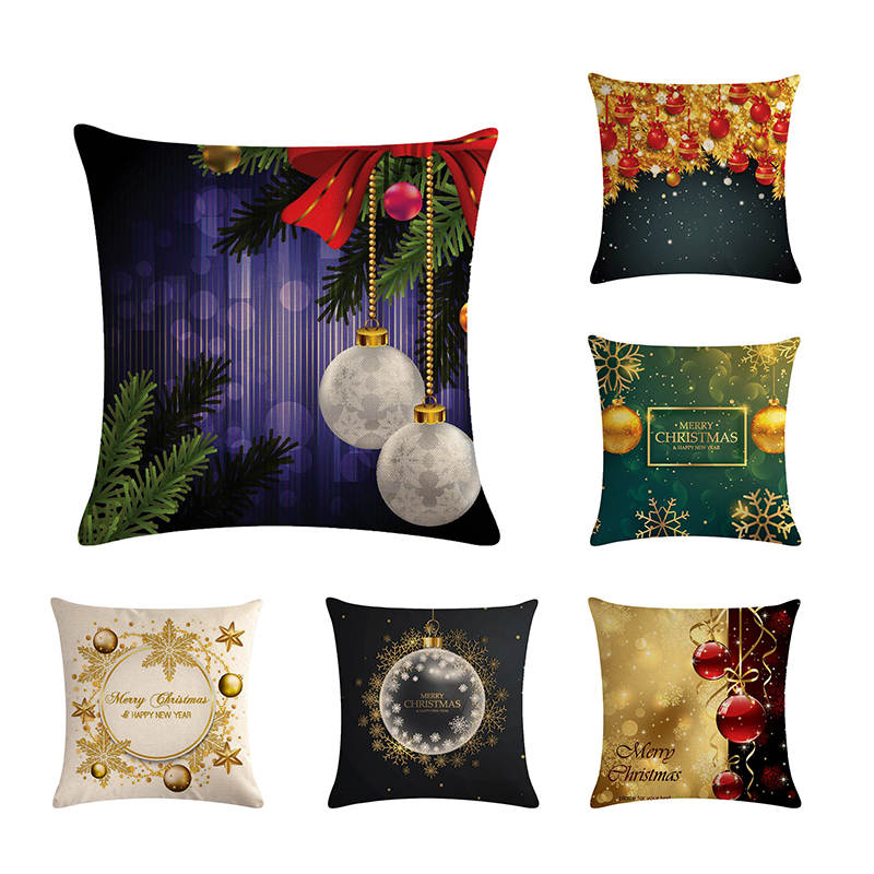 Cushion Cover Merry Christmas Ball Cushion Cover Sofa Pillows New Year Christmas Bolus Decorations For Home Pillowcase Square Linen Zy707 Products Are Sold Without Limitations