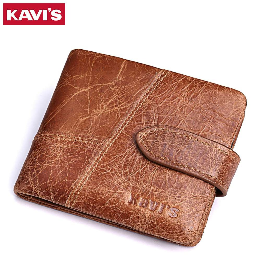 KAVIS New 100% Genuine Leather Men Wallets Man Famous Small Short portomonee with Coin Zipper Mini Male Purses Card Holder Walet kavis brand crazy horse genuine leather wallet men wallets coin purse with card holder mini male with bag portomonee small walet