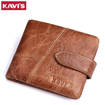 KAVIS New 100% Genuine Leather Men Wallets Man Famous Small Short portomonee with Coin Zipper Mini Male Purses Card Holder Walet