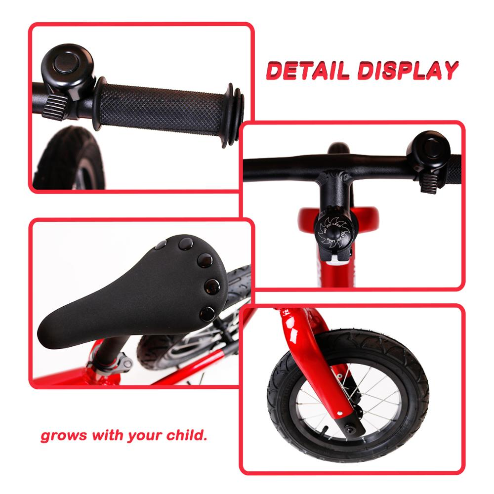 Coewske 12 Inch Aluminum Balance Bike Toddler No Pedals For 2 – 6 Year Old - Red, Blue, Black 3