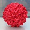 Случайные Конфеты Цвет Красный Свадебный Букет Цветок Брак Искусственные Цветы Ленты Атласные Розы Тайме Мяч Пены Свадебные Букеты W223