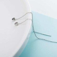 Ruifan Korean Fashion Tassel Cubic Zircon 925 Sterling Silver Long Drop Earrings for Women Girls Minimalist Jewelry YEA181