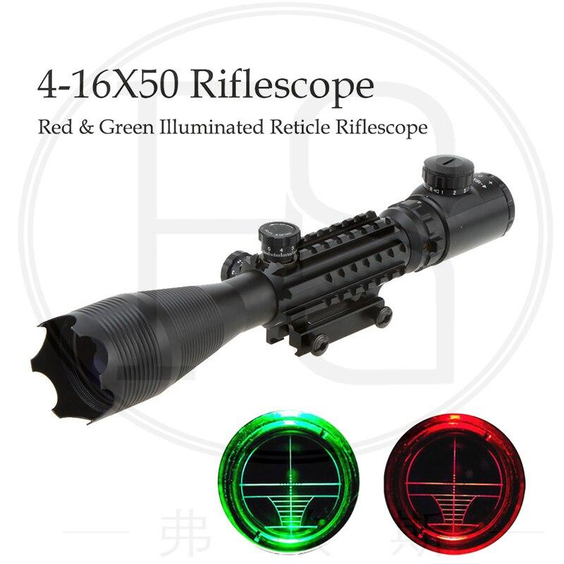 Lunette de visée tactique chasse 4-16x50 rouge vert réticule éclairé adapté pour 20 MM Rail monte Sniper portée Sport Airsoft portée