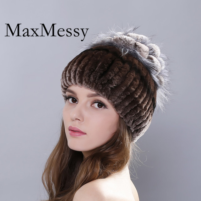 MAXMESSY Winter Fur Hat For Women Real Rex Rabbit  With Silver Fox Fur Flowers Knitted Beanies  Causal Real Fur Warm Cap