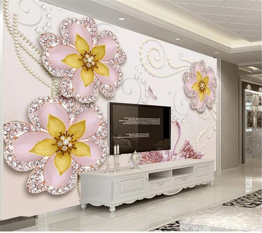 beibehang  Custom wallpaper papel de parede Beautiful swan jewel flower wall pintado pared tapety behang