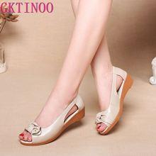 Женские босоножки из натуральной кожи GKTINOO, однотонные повседневные Летние босоножки на плоской подошве, винтажные сандалии, большие размеры
