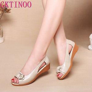 Image 1 - Женские босоножки из натуральной кожи GKTINOO, однотонные повседневные Летние босоножки на плоской подошве, винтажные сандалии, большие размеры