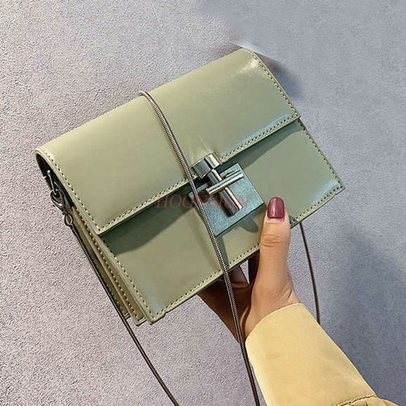 makeup bag Summer small girl 2019 new version lock buckle square foreign gas chain slant shoulder