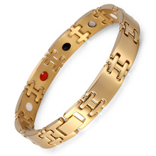 все цены на Jewelry Birthday Gift For Men Couple Gold Plating Health Germanium Steel Bio Magnetic Stainless Steel Bracelet