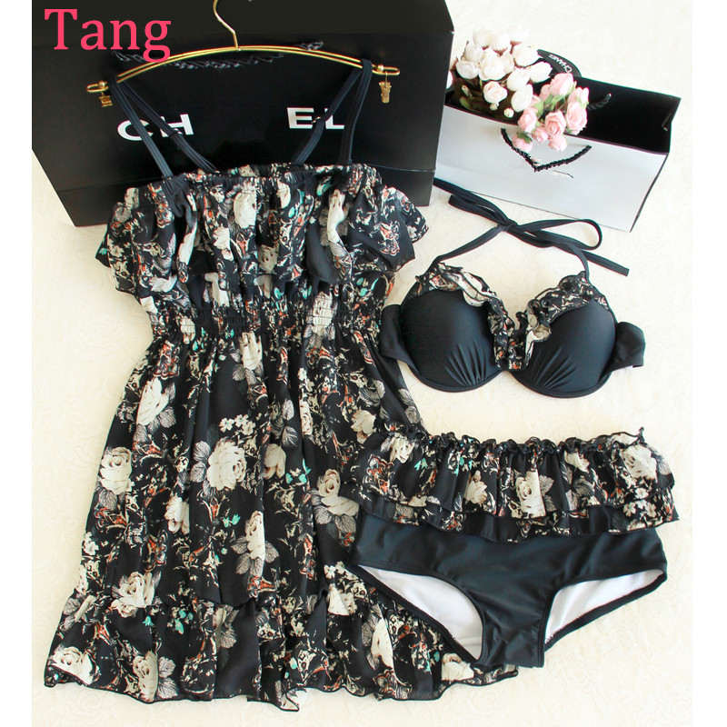 ФОТО STAR MENG female swimsuit bikinis three piece Ruffle blouse Swimsuit Cover belly small chest gather seaside pretend