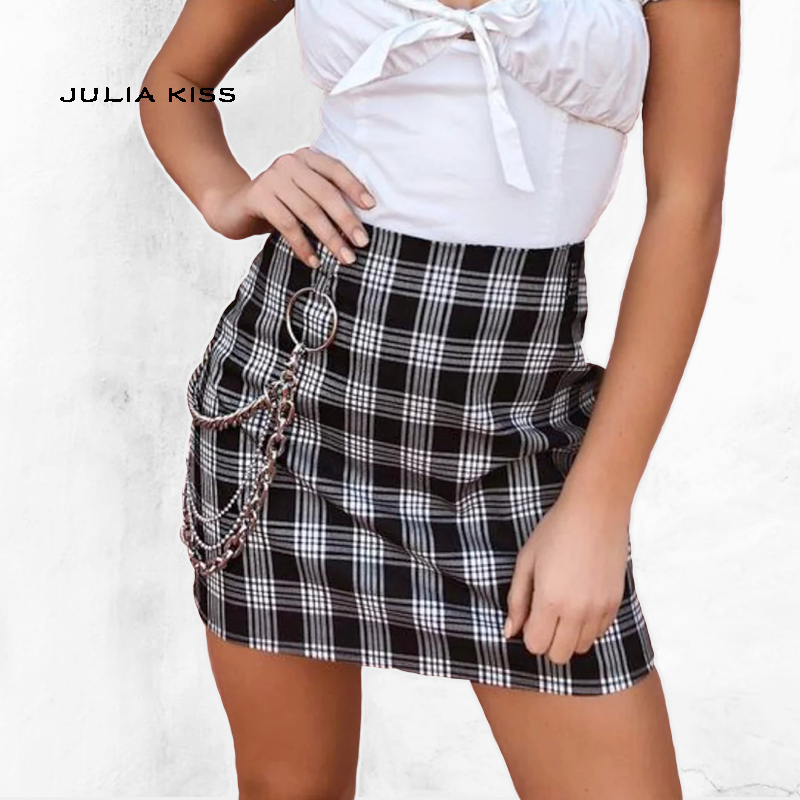 9c5dfa647e Women Checked Mini Skirt with Two Small Front Slits-in Skirts from ...