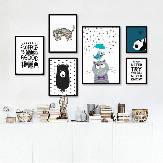 New decorative pictures poster art for kids room baby painting black white bear cat posters and prints frame not include in painting calligraphy from home