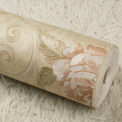 European luxury roses background wallpaper 3D embossed non-woven wallpaper roll Vintage floral wallpaper 3D wall paper mural
