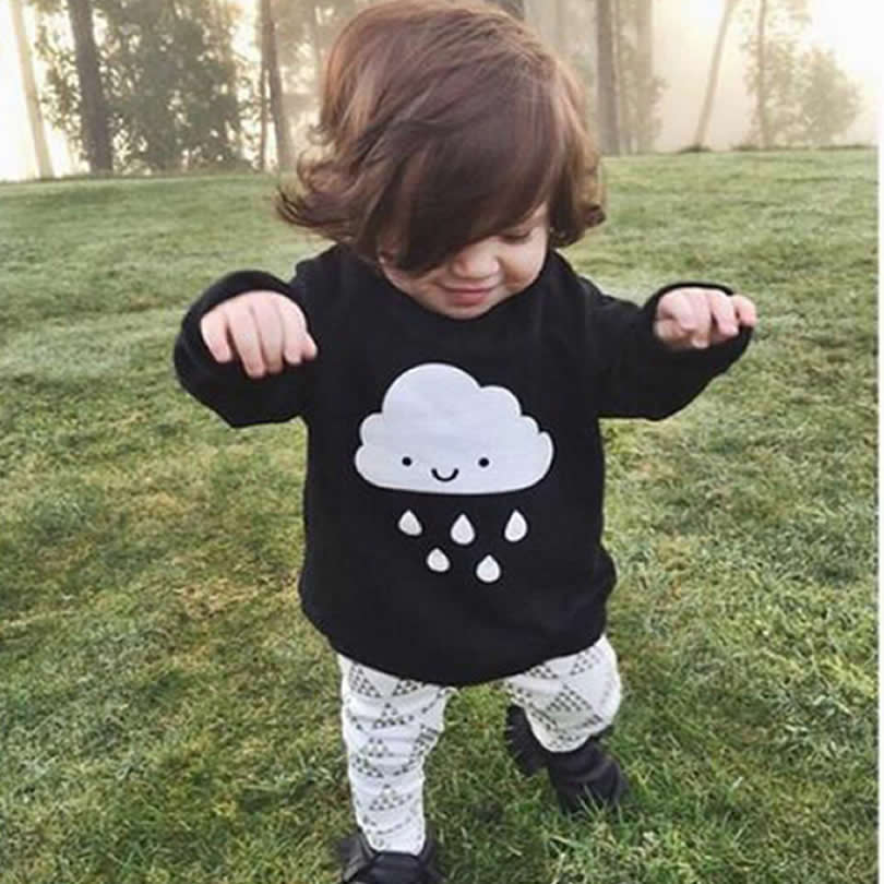 Baby t-shirt Girls Bottoming Shirt spring/autumn Large Cloud Clouds Rain long-sleeved Cotton Sweatshirt Kids Clothing +pants 2pc