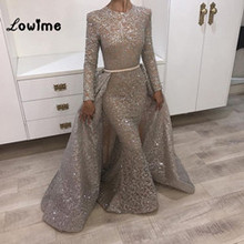 Gold Pailletten Zwei Stücke Abendkleid Nixe-abschlussball Arabisch Glänzend Partei  Kleid Silber Musilm Kleider Vestido 1148802d0f