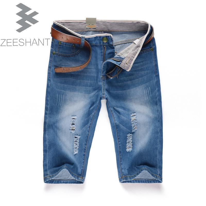 ZEESHANT Plus Size 40 Shorts Men Fashion Pocket Ripped Jeans Vintage Trousers Male Hole Denim Short Pants in Men's Jeans 2014 new fashion reminisced men vintage trousers casual jeans wash capris pants loose plus size overalls zipper denim jumpsuit