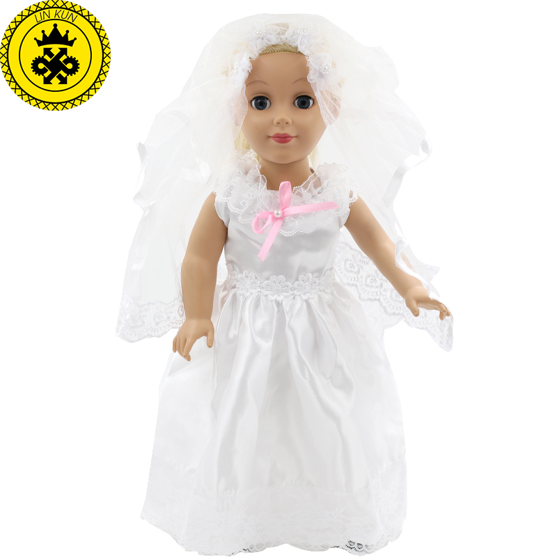 Dolls Accessories American Girl Doll White Wedding Dress Veil Handmade American Girl Doll 18 Inch Clothes Wedding Dress MG-011 american girl doll clothes halloween witch dress cosplay costume for 16 18 inches doll alexander dress doll accessories x 68