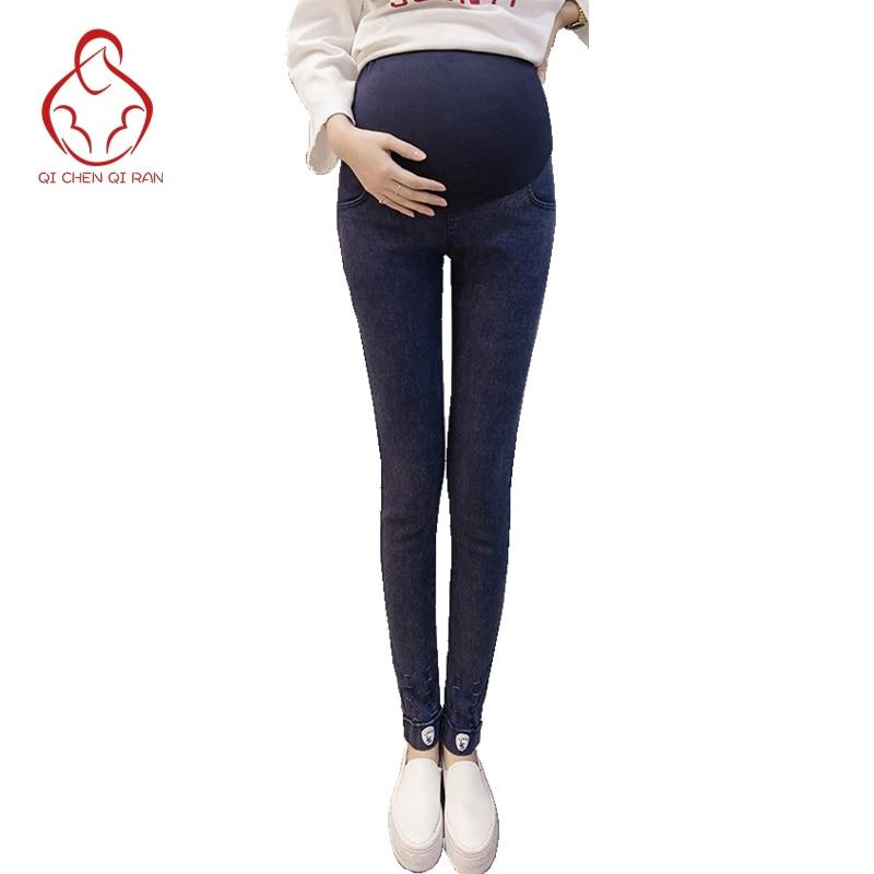 High quality jeans pregnant women fashion fashion stretch pregnant women pants loose waist maternity pants pregnant