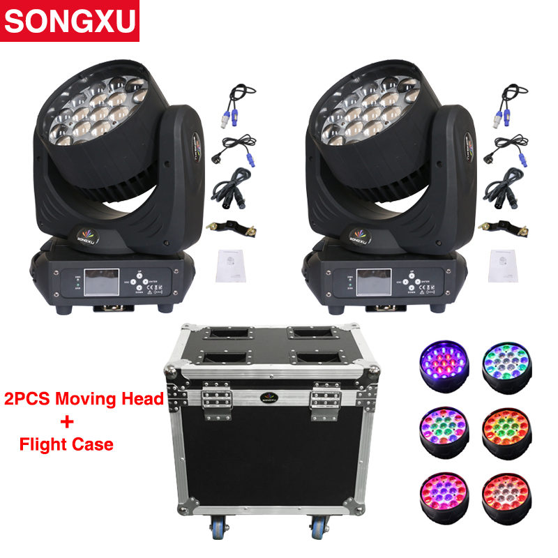 SONGXU 2in1 Flight Case Package 19x15w RGBW Wash Zoom Moving Head Light LED Moving Head Washer