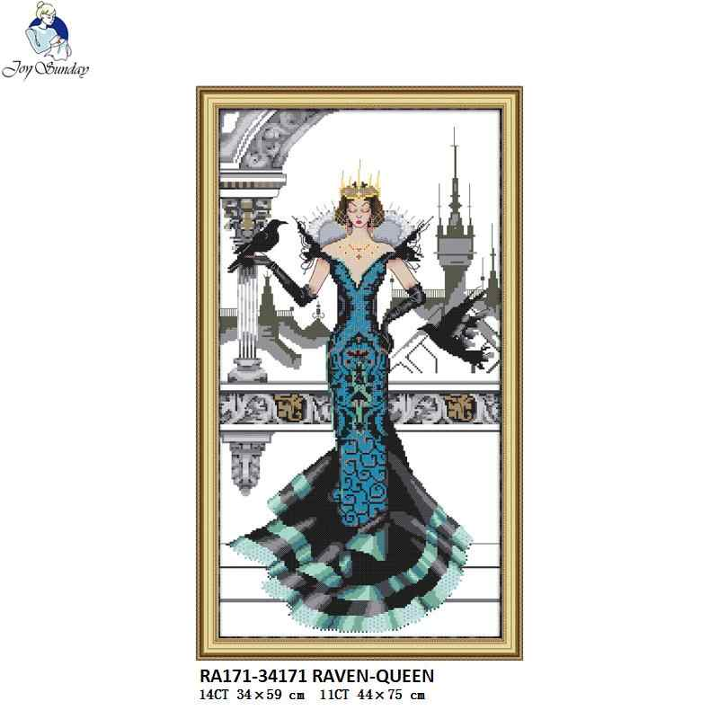 Joy Sunday Raven-Queen Pattern DIY Handmade DMC 14ct and 11ct Cross stitch kit and Precise Printed Embroidery Needlework