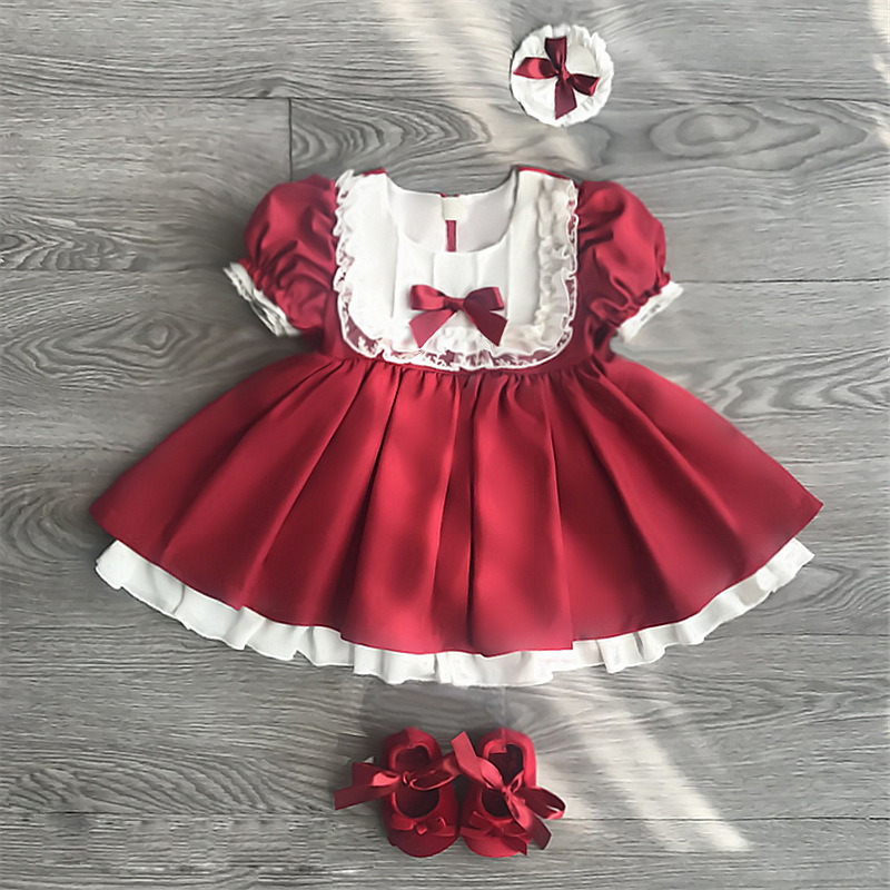 5472 Red Puff Sleeve Princess Party Toddler Baby Girls Dresses Summer Tutu Kids Dresses For Girls Wholesale baby girl clothes 5P fashion toddler puff sleeve off shoulder dress kids baby girl polka dot party princess dresses sundres birthday gift 1 6t