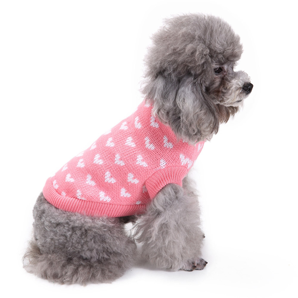 Dog Clothes For Small Dogs Pet Products Clothing Pink Heart Round Neck Small Pet Dog Cute Clothes Puppy Sweater