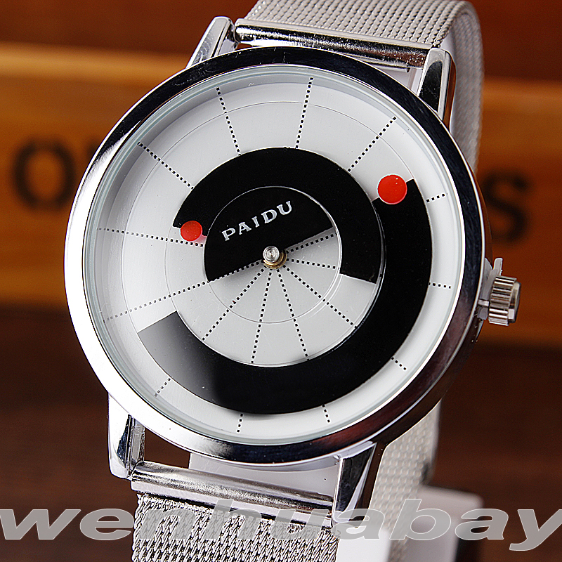 Paidu Unique Arc wijzer Zwart / Wit Quartz Stainless Mesh Band Polshorloge Mens Boy Draaitafel Dial Digital Gift Horloges
