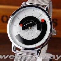 Paidu ponteiro arco único preto/branco quartzo banda de malha inoxidável relógio de pulso masculino menino turntable dial digital presente relógios pulso