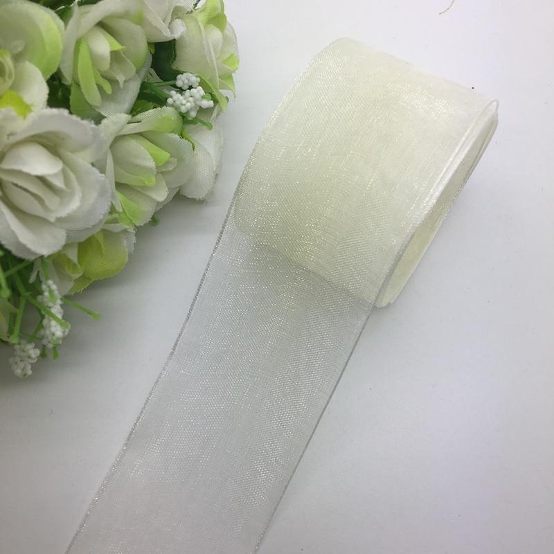 white 5 Yards 1 Broadside Organza Ribbon Wrapping wedding Decoration Lace Crafts 5 yards White Organza Ribbon 25mm