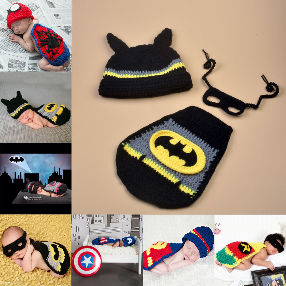 Handmade Knitted Newborn Super Hero Photography Props Batman Superman Captain America Costume Outfit Baby Gift SG057