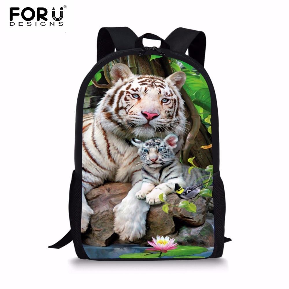 FORUDESIGNS Fashion Men Backpacks Cool 3D Animal Tiger Printing School Backpack for Teenage Boys Children Mochila Rucksack Man twoheartsgirl cool neon animal leopard tiger head backpack for teenager boys girls unisex children school backpack kids bagpack
