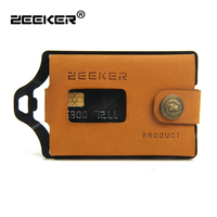 ZEEKER Metal Rfid Blocking Card ID Holder Credit Card Wallets Leather Men's Wallet Khaki