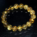 Natural Genuine Yellow Gold Hair Rutile Quartz Stretch Men's Bracelet Round Beads 11mm 04266