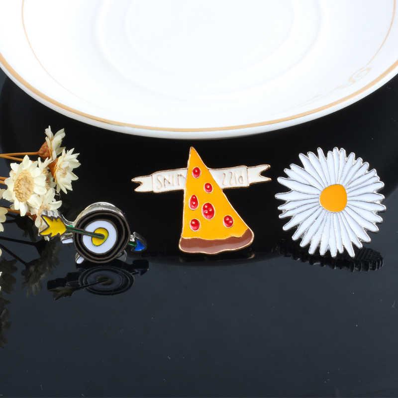 Reliatonny Cartoon Spilla Freccia Cane Pokemon Carota Pizza Spille eapple Fiore Frutta del Metallo Dello Smalto Risvolto Spille Gioielli Kawaii Regalo Distintivo
