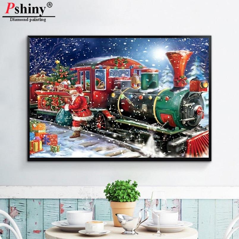 Pshiny 5D DIY diamantové malby Vánoční Santa Claus vlak Plný drahokamu cross steh diamantové výšivky diamantové mozaiky F148
