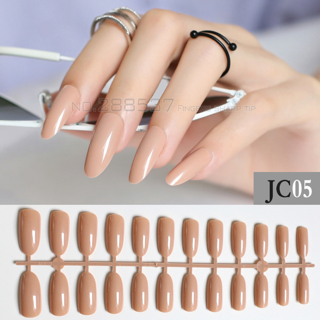 New Light N Almond Long Oval Personality Designs Round False Nails 24pcs Full Nail Pure Decorating