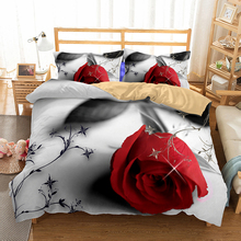 WINLIFE 3D Duvet Cover Set with Flowers and Heart-Shaped Patterns Printed for Couples Adults