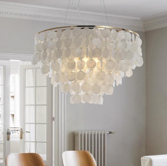 Post Modern White Natural Seashell Pendant Lamp Fixture E27 Lights Dia 35cm Shell Lamps For Bedroom Home Living Room Light D40CM