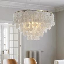 Post nowoczesna biała naturalna muszla wisiorek żyrandol E27 światła Dia 35cm powłoki lampy do sypialni domu oświetlenie do salonu D40CM