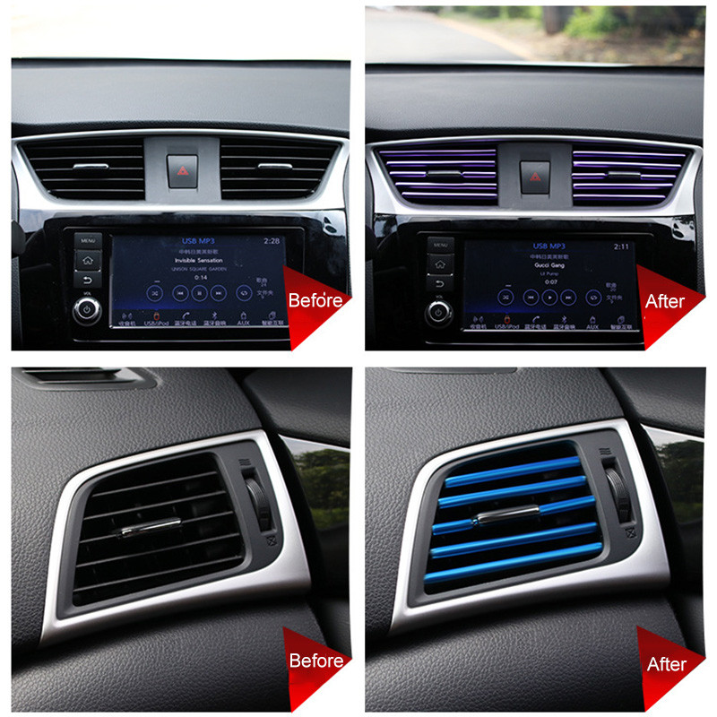 10 Pcs U Vormige Outlet Blade Airconditioning Outlet Decoratieve Strip Paars Voor Toyota Camry 2018 Of Andere