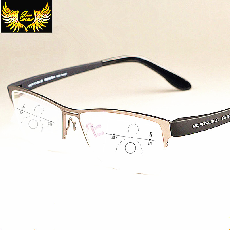 New Men Titanium Alloy Quality Progressive lenses Reading Glasses Fashion Square Half Rim Classic Multifocal Glasses