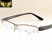 Nova Liga De Titânio Homens lentes Progressivas Óculos de Leitura de  Qualidade Moda Praça Metade Rim Óculos Multifocais Clássico. 75afbad9d2