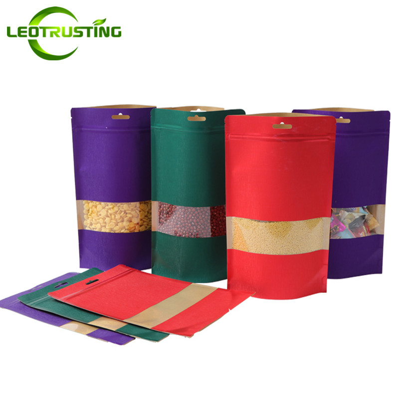 Leotrusting Thick Kraft Paper Clear Window Bag Eco-friendly Hanging Paper Gift Bag Resealable Coffee Candy Nuts Packing Bag