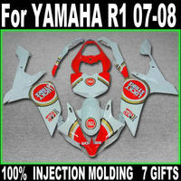 Injection molding fairing body kit for Yamaha YZF R1 07 08 red white motorcycle fairings YZFR1 2007 2008 BD67
