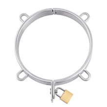 Stainless Steel Lockable Neck Cuff Collar With 4 Ring,Restraint Bondage Locking Choking Ring Fetish Slave Sex Toys For Couples adult game locking stainless steel slave collar bondage neck ring restraint fetish toys metal sex collar sex toys for women men