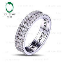 CaiMao 18KT/750 White Gold 1.26 ct Full Cut Diamond Engagement Gemstone Wedding Band Ring Jewelry